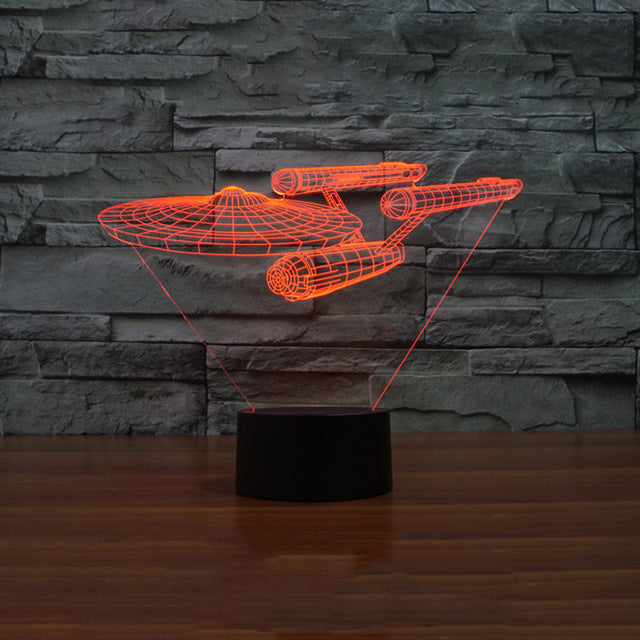 3D  Power Touch Star Trek Enterprise LED Table Lamp - Night Light