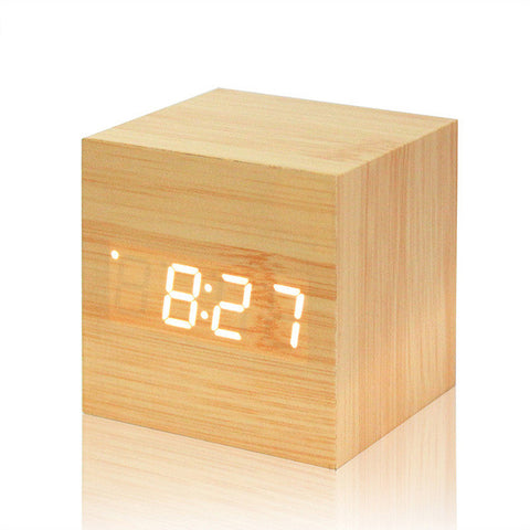 Cube LED Digital Alarm Wood Clock with Temp Date Display Calendars