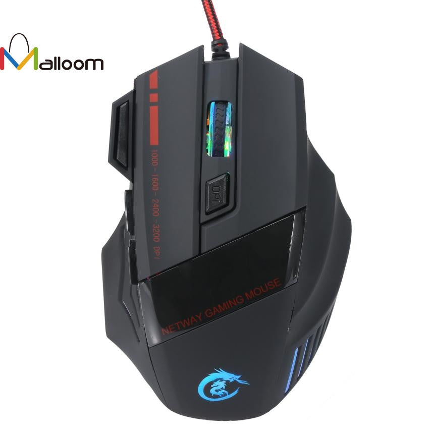 PRO Gaming Mouse 5500 DPI 7D LED Optical USB Wired For PC Laptop