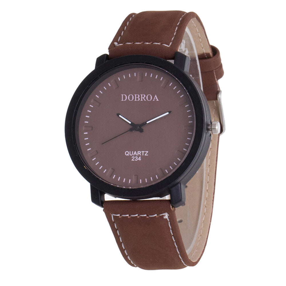 Luxury Men's Leather Military Analog Watch