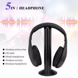 FORNORM 5 in 1 Wireless Cordless Headphone Headset Earphone For PC TV Radio Wireless Headphone
