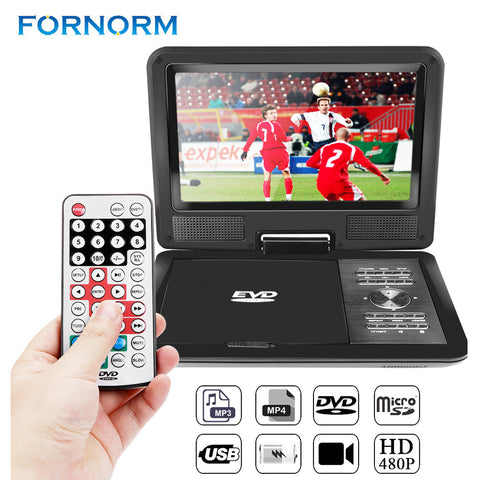 "FORNORM 9"" 720P LCD HD DVD Player 270 Degree Swivel Screen Portable  Digital Multimedia  With FM TV Game Player"