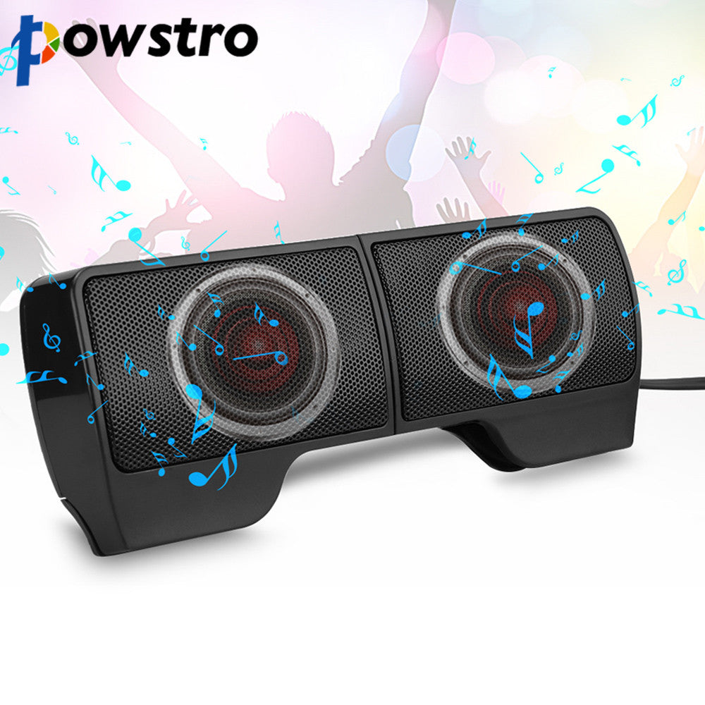 Mini Portable Clip-On USB Powered 3.5mm Jack Stereo Audio Speakers