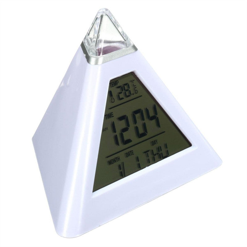 LED Display Digital  Pyramid Alarm Clock for Office, Bedroom, Dormitory or Travel