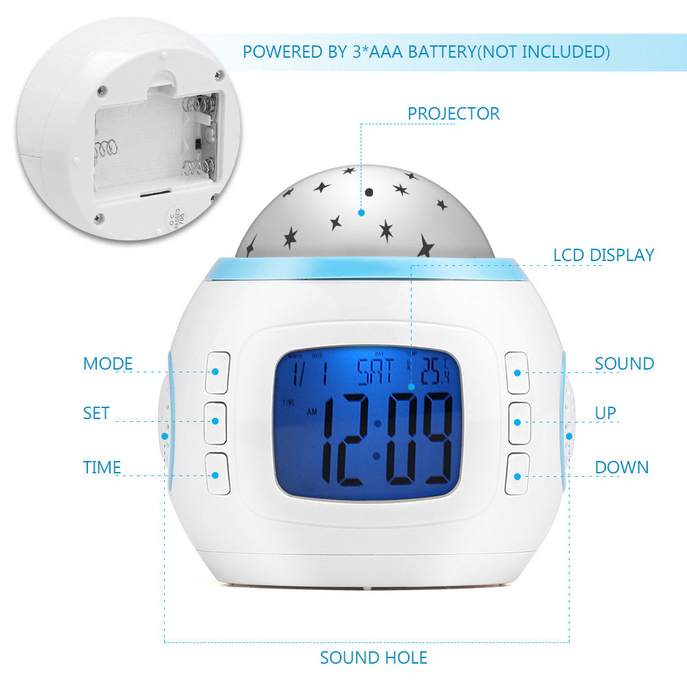 Projecting Clock Color Gradual Change Star Music Alarm Clock with Backlight for Kid Room Night Light