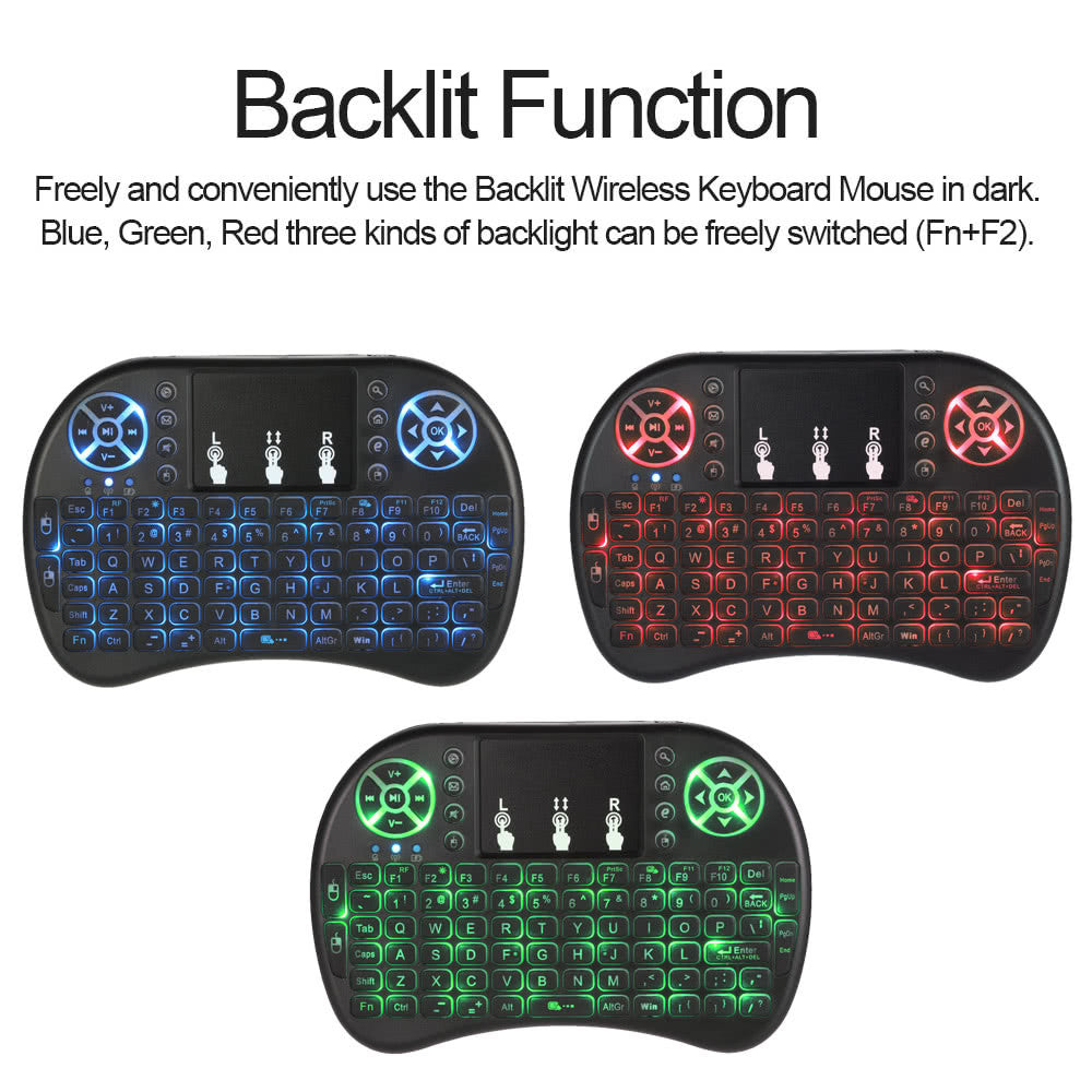 LED Backlit Wireless Keyboard with Touchpad Mouse Remote Control