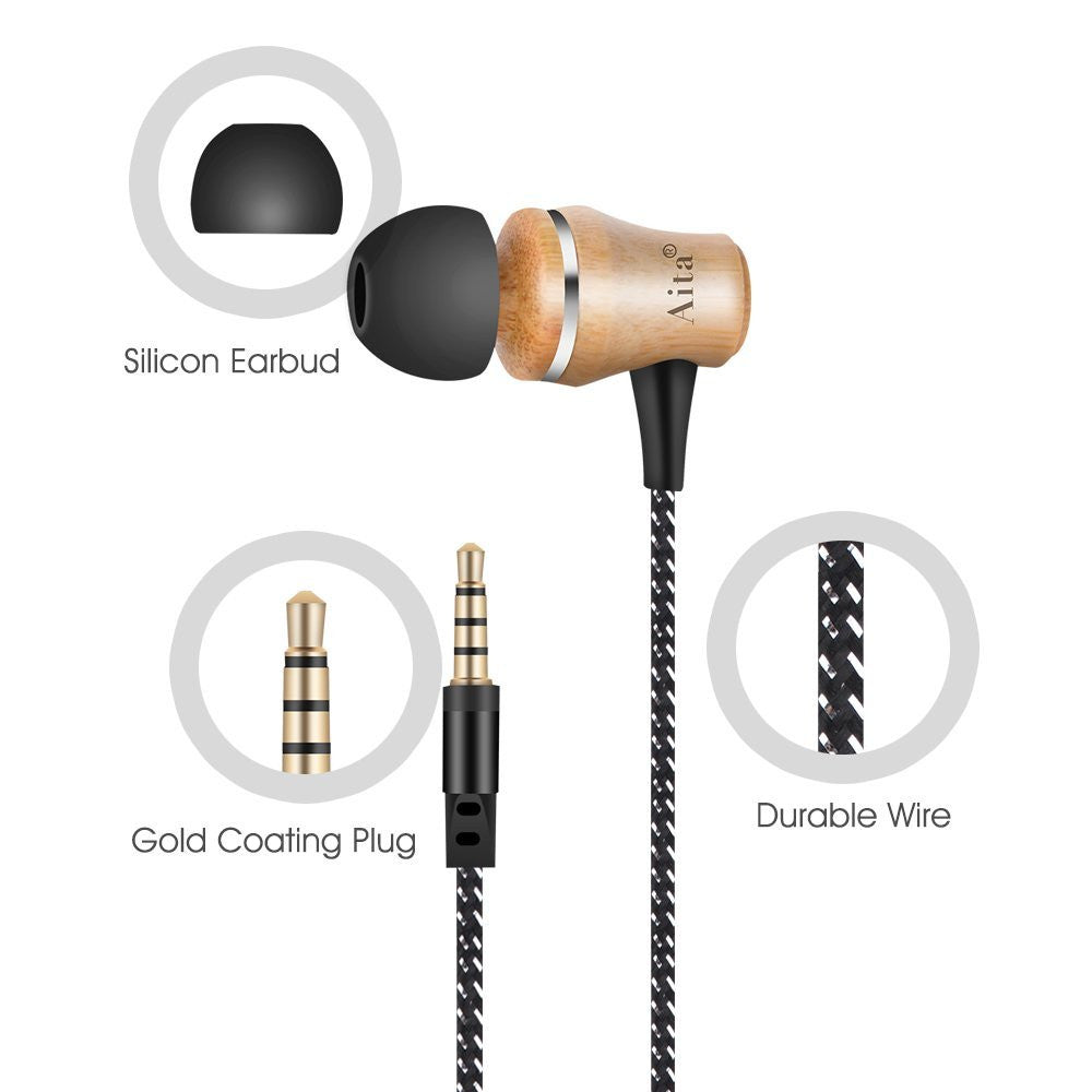 Wood In-ear Noise-isolating Headphones