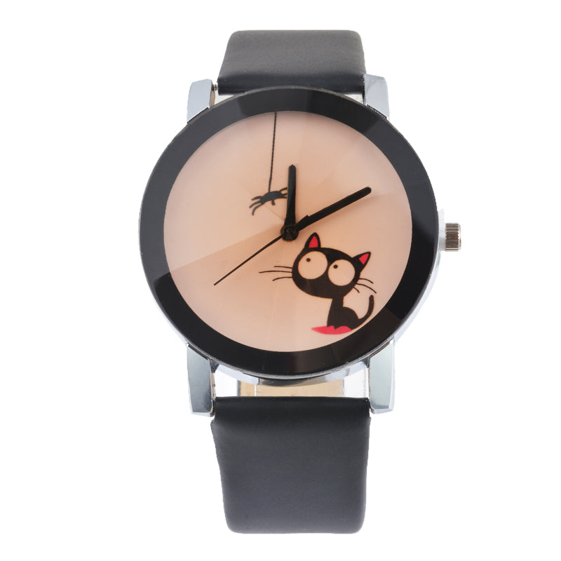 Cat Lover Doreen Box PU Leather Quartz Wrist Watch