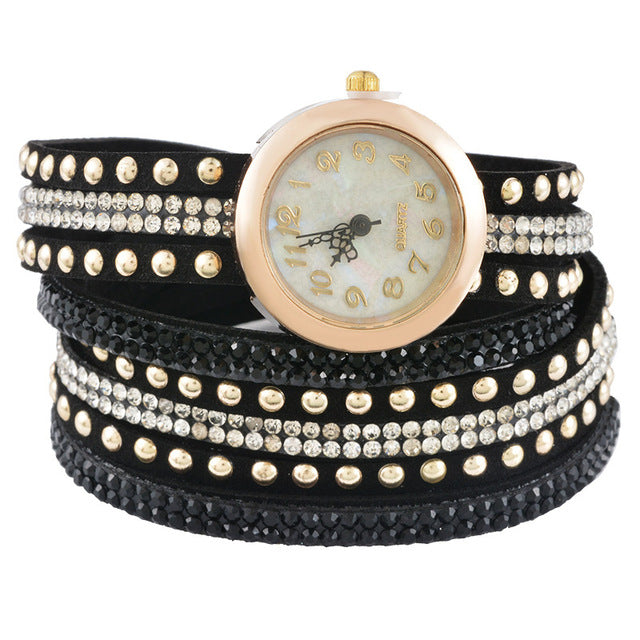 Clear Rhinestone Velvet Quartz Wrist Watch Battery Included