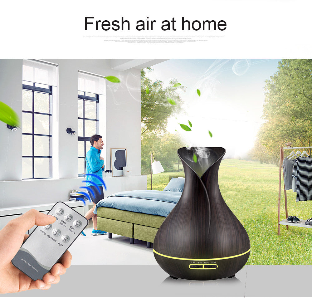 Aroma Diffuser 550ml remote control wood grain 7 colors light