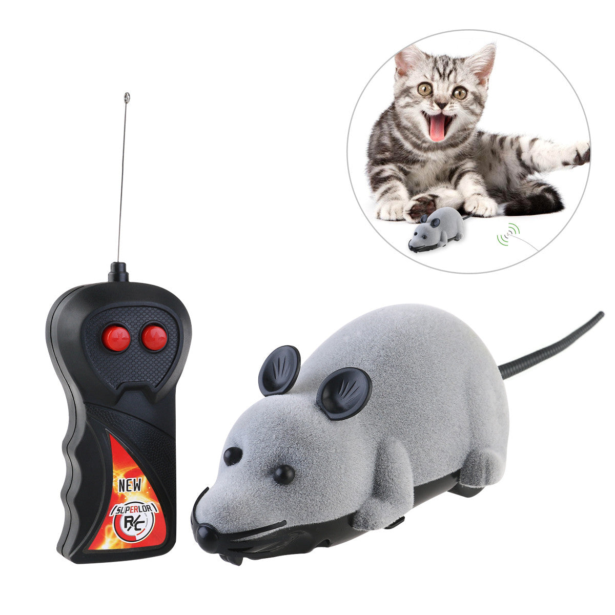 Wireless Remote Controlled Plush Mouse Chase Toy (Gray)