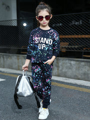 "Girls Graffiti ""Stand Up"" two-piece track suit - Kelita's Kloset"