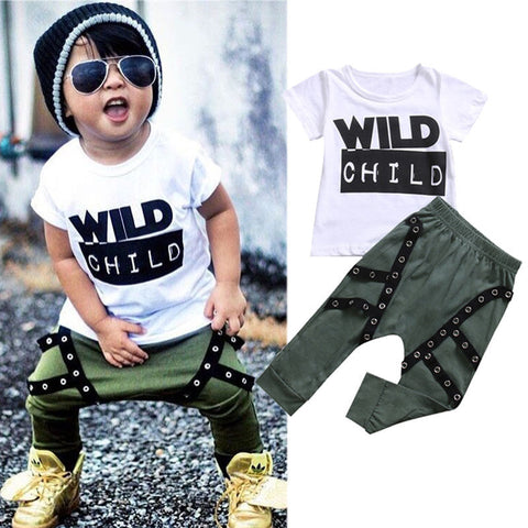 """Wild Child"" Boy Toddler Set - Kelita's Kloset"