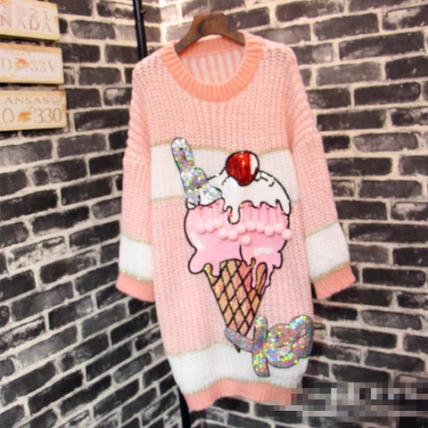 Ice Cream Inspired Sweater Dress - Kelita's Kloset