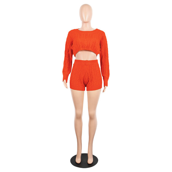 Knit 2PC Crop Top Short Set - Kelita's Kloset