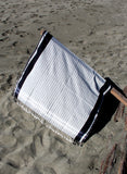 100% cotton lightweight travel beach towel black and grey