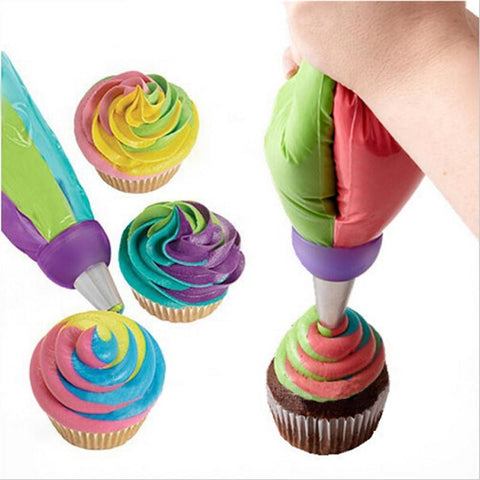 Multicolor Baking Decoration Tool + 3 Piping Bags Pack