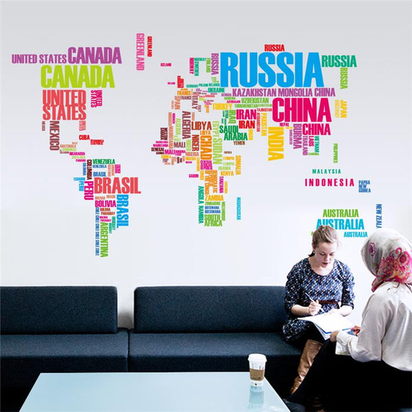 Colorful Letters World Map Stickers