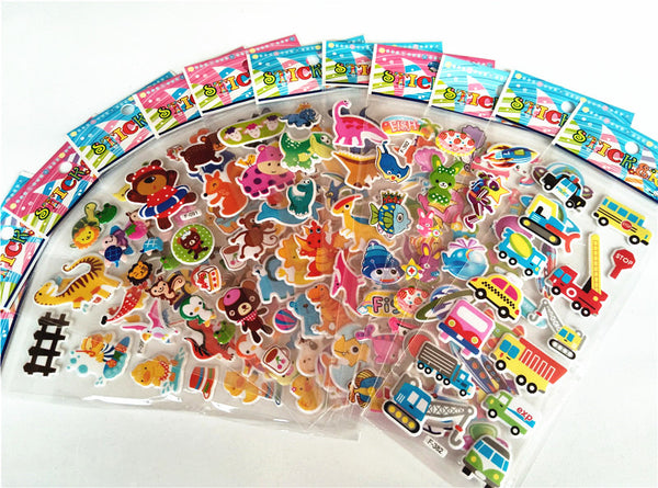 12 Sheets Cute 3D Cartoon Animal Puffy Sticker