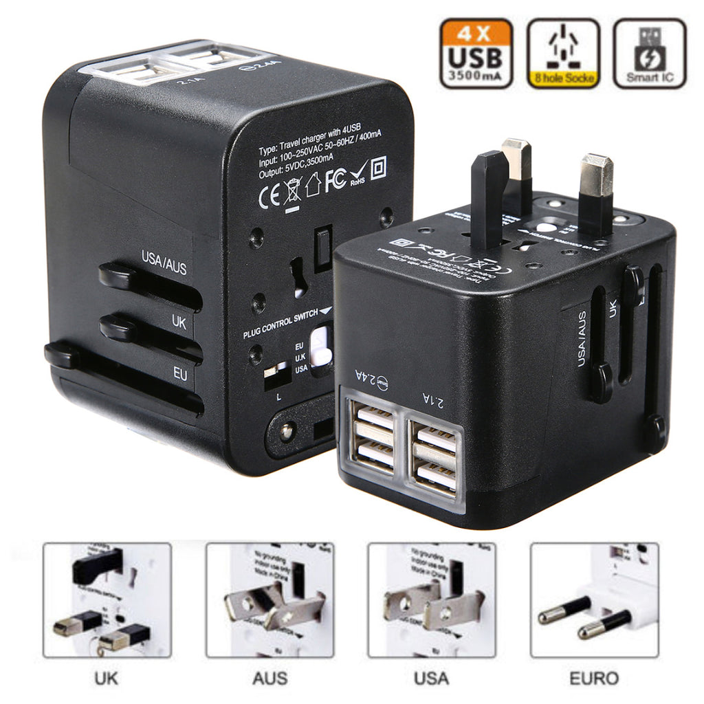 International Universal Plug Adapter 4USB Port