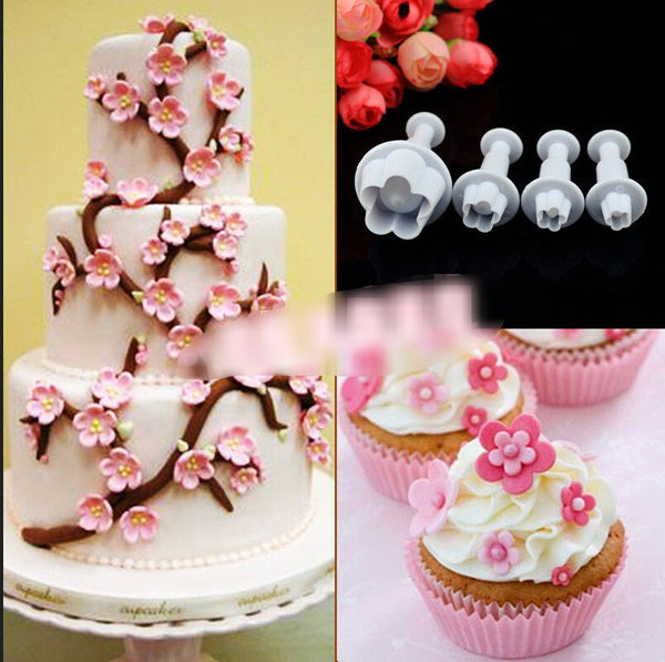 4pcs/set Plum Flower Sugarcraft Molder