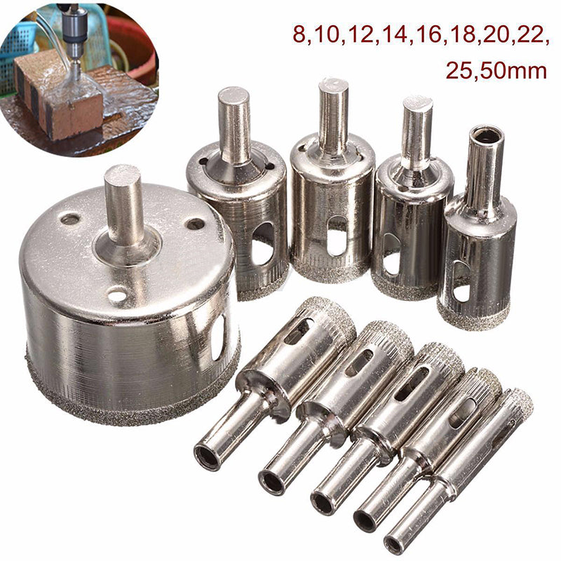 10pcs Diamond Coated Hole Saw Drill Bit