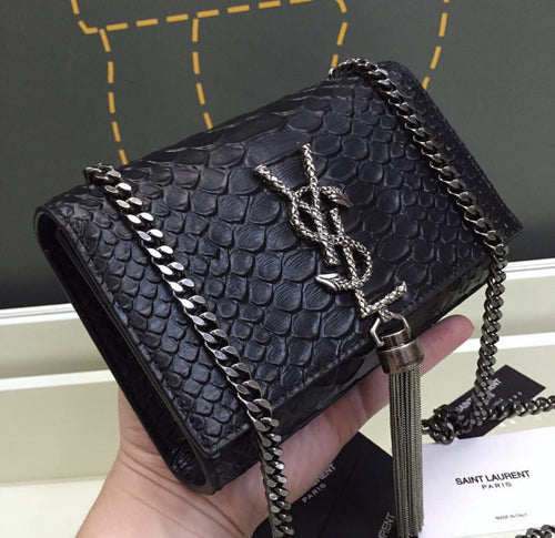 Saint Laurent Saint Monogram Black Crocodile