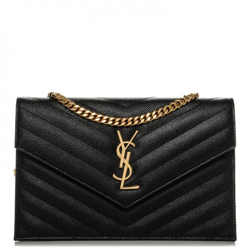 Saint Laurent Monogram Chain Wallet In Black Grain