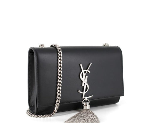 Saint Laurent Classic Small Kate Tassel Satchel - Black/ Silver