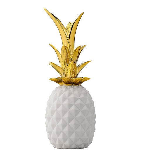 White and Gold Ceramic Pineapple