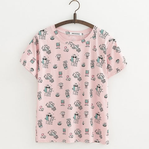 Cactus Print tees Short Sleeve O-neck Casual T-shirt Women