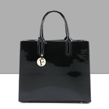 Bright Solid Patent Leather Women Fashion Bags