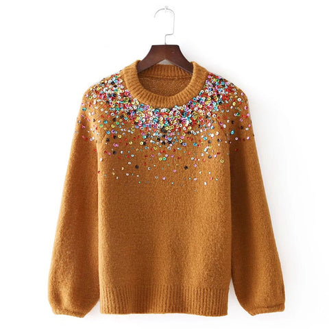 Vintage Multicoloured Sequins Embroidery Knit Sweater Women
