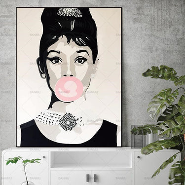 Canvas Painting Wall Art Pictures home decor prints Audrey Hepburn on canvas no frame Wall poster decoration for living room
