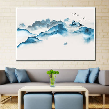 Abstract Painting Large Size Minimalist Mountain peaks Landscape Canvas Painting Nordic Posters and Prints Wall Art Chinese