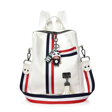 Women Backpack Stripe Soft Leather Ladies Shoulder Bags Women's Backpacks for Teenager Girls