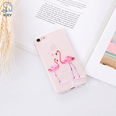 KRY Relief Flamingos Phone Cases For iPhone