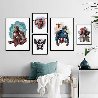 Marvel Movie Spiderman Iron Man Watercolor Super Hero Canvas Painting Posters And Prints Wall Art Picture Boy Room Bedroom Decor