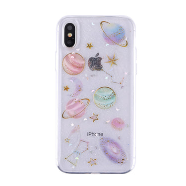 Glitter Transparent Soft Flexible TPU Protective Cover Starry Sky Printed Shock-proof Impact-resistant Non-Slip TPU Cell Phone Case for iPhone X