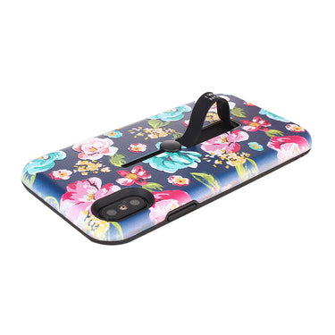 Floral Pattern Embossment Phone Case Slim Fit Hard Case Shockproof Anti-scratch Phone Cover Case with Kickstand and Rubber Strap for iPhone X