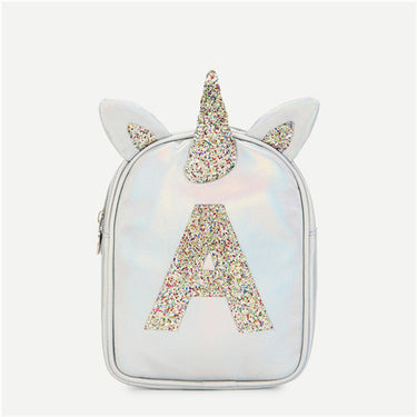 Silver Highstreet Fashion Girls Ear Design Glitter Backpack Women Letter