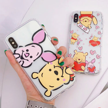 Cartoon Winnie Pooh Soft Silicone Transparent Phone Case Fundas Coque For iPhone