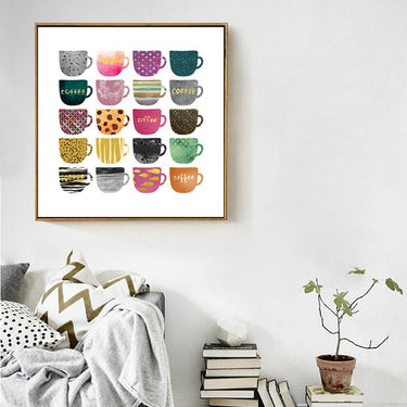 Abstract Multi Colors Cups Canvas Painting Poster and Print Nordic Wall Art Pictures For Kitchen Living Room Home Decor unframed