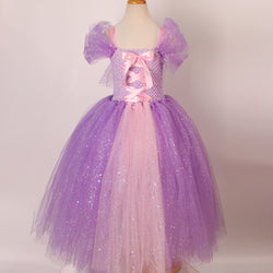 Kids Tangled Rapunzel Tutu Dress Handmade Disney Princess Dress Birthday Outfit - Tutu-Dresses.com