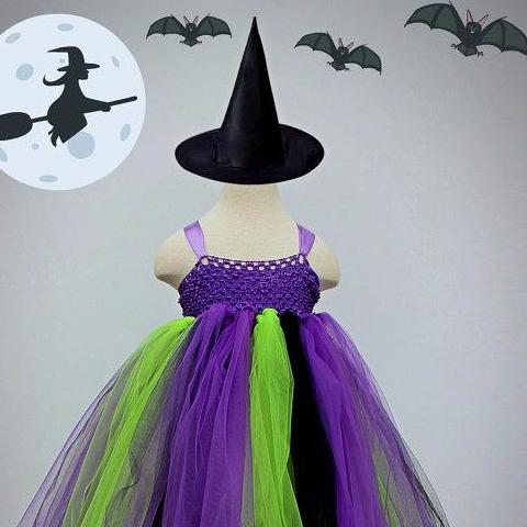 Witch Inspired Tutu Dress. Witch Fancy Dress. Witch Costume. Witch Hat. & Witch Inspired Tutu Dress. Witch Fancy Dress. Witch Costume. Witch Hat