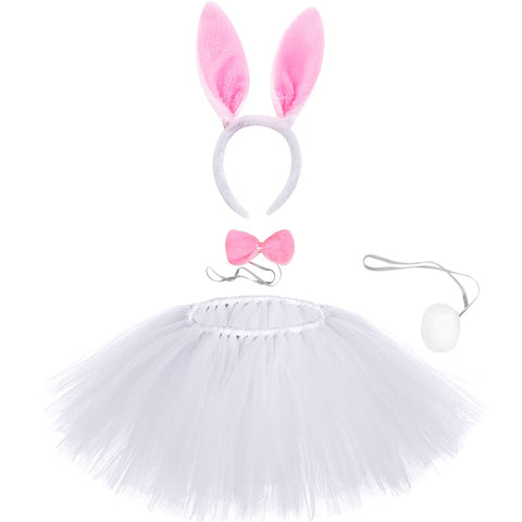 Kids White Easter Bunny Rabbit Tutu Skirt - Rabbit Ears, Bow and Tail for Baby Girls Birthday Party Costume - Tutu-Dresses.com