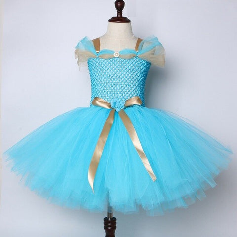 Jasmine Inspired Girls Tutu Dress Turquoise Blue Children Birthday Party Dress for Kids Girl Halloween Aladdin Princess Costume - Tutu-Dresses.com