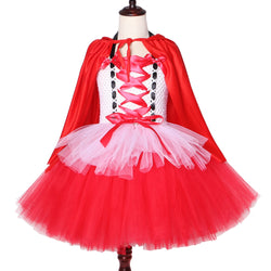 Children Girls Little Red Riding Hood Tutu Dress with Cloak Kids Halloween Costumes Red White Girl Fancy Carnival Party Dress Up - Tutu-Dresses.com