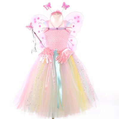 Pink Fairy Flower Girls Tutu Dresses with Wings Set Rainbow Easter Party Children Kids Clothes Flower Wedding Dresses