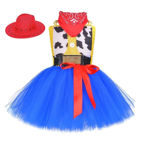 Toy Woody Cowboy Cowgirl Girls Tutu Dress with Hat Scarf Set Outfit Fancy Tulle Girl Birthday Party Dress Kids Halloween Costume